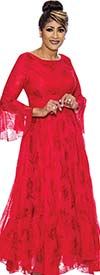 DCC - DCC2021-Red Bell Sleeve Pleated Dress With Lace Organza Layer