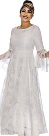 DCC - DCC2021-White Bell Sleeve Pleated Dress With Lace Organza Layer