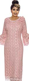 DCC - DCC2101 Loop Fringe Accented Lace Design Dress With Bell Sleeves