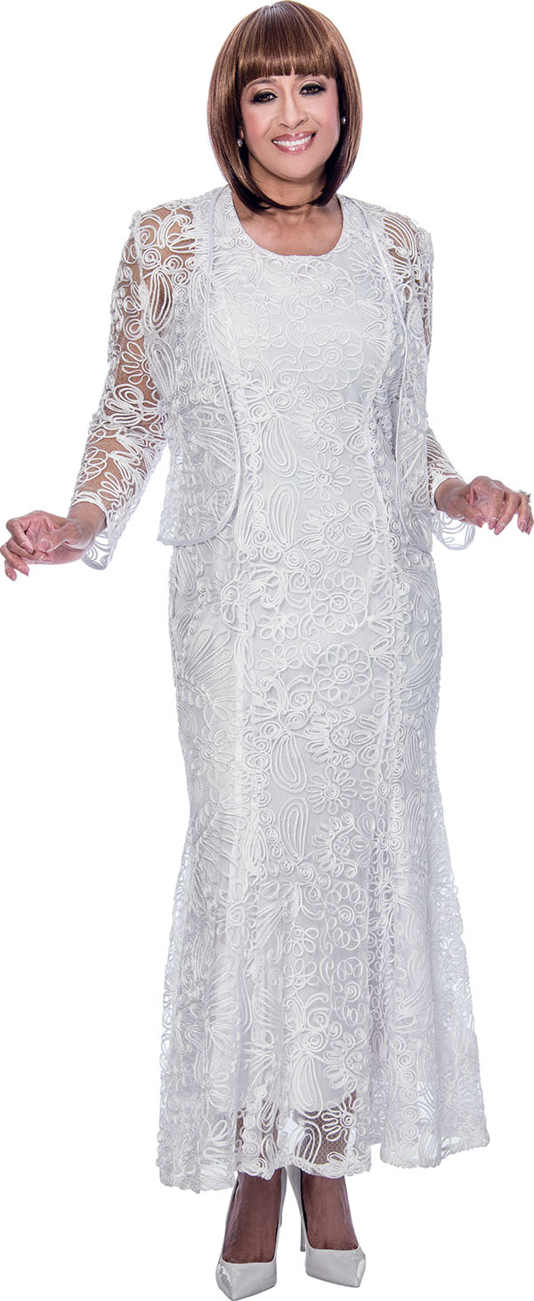 DCC - DCC142-White - Mesh Layered Womens Dress With Soutache Detail