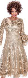 DCC - DCC2171-Champagne-  Pleated Organza Trimmed Bell Sleeve Dress With Spiral Square Pattern