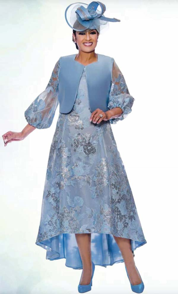 DCC - DCC2452 Floral Design High Low Dress Suit With Bishop Style Sleeves