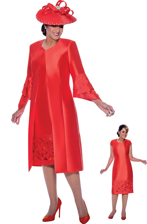 DCC - DCC2512-Orange - Cut-Out Detail Dress With Pointed Bell Sleeve Jacket