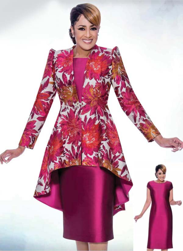 DCC - DCC2562 Solid Dress Suit With Floral Print High Low Jacket