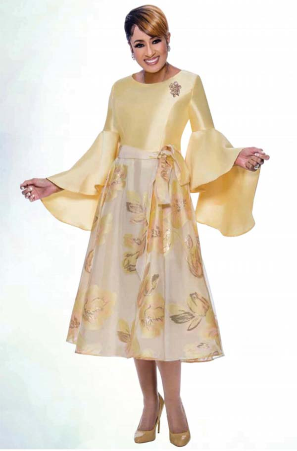 DCC - DCC2631 Floral Design Pleated A-Line Dress With Flounce Sleeves And Sash