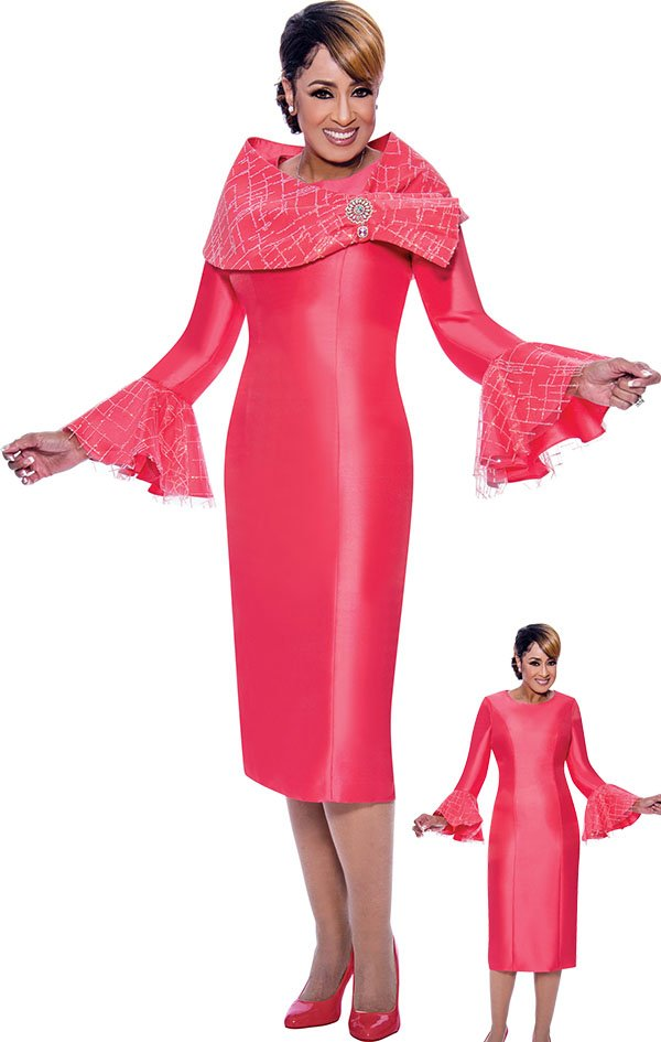 DCC - DCC2662 Ruffle Flounce Sleeve Dress With Removable Shawl