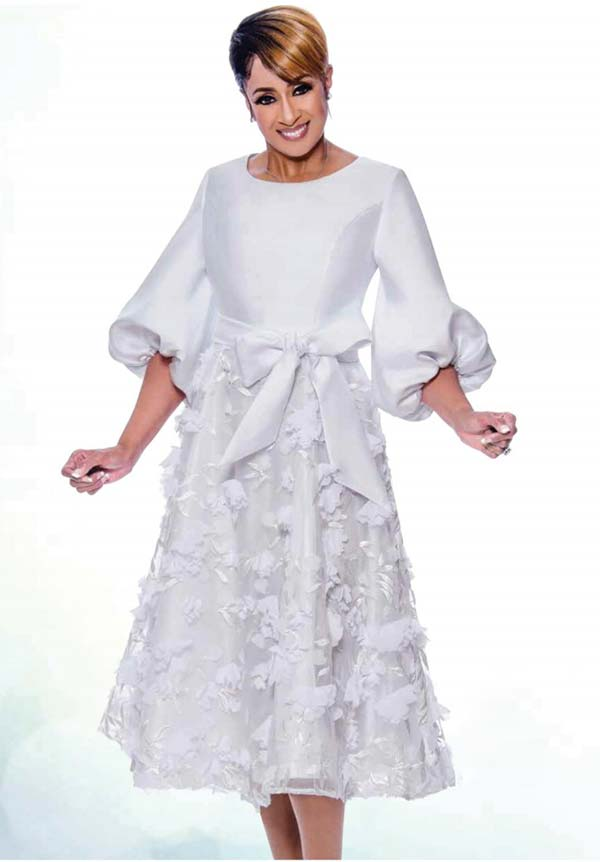 DCC - DCC2671 Organza Applique Layer Dress With Bishop Sleeves And Bow Sash