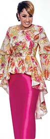 DCC - DCC2712 Womens Solid Skirt Set With Floral Print High Low Peplum Jacket
