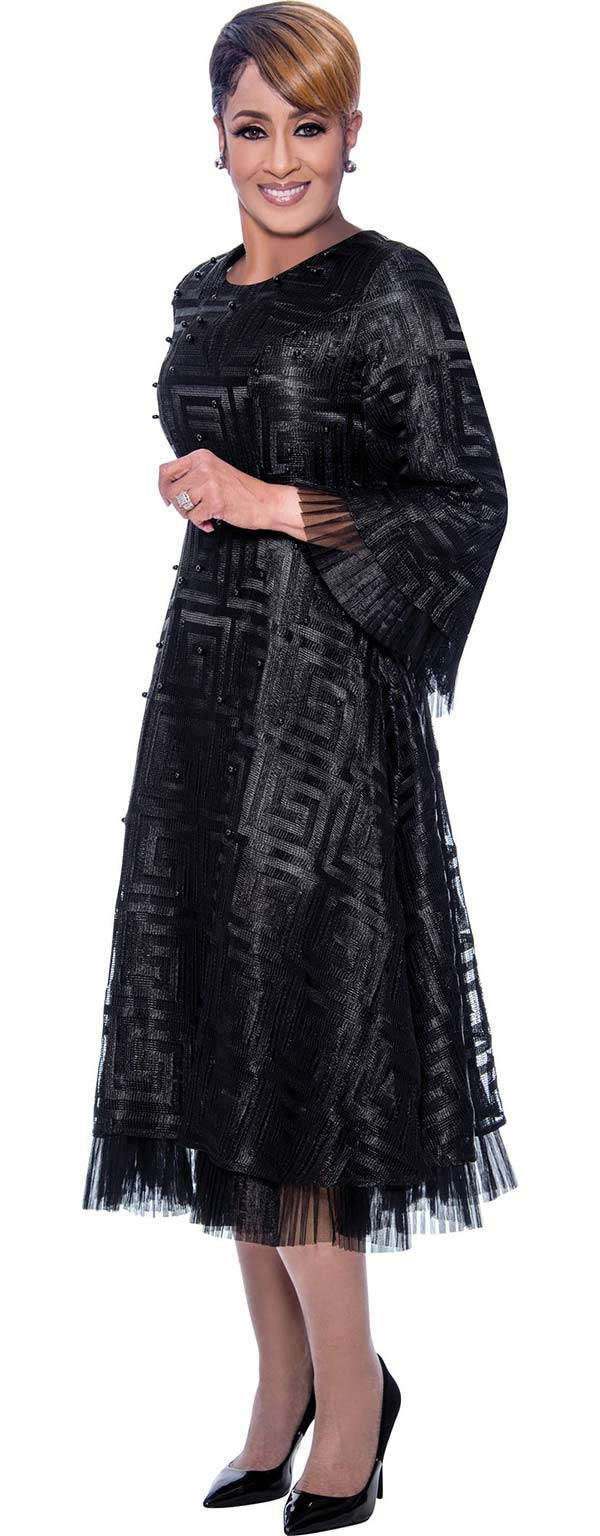 DCC - DCC2171-Black-  Pleated Organza Trimmed Bell Sleeve Dress With Spiral Square Pattern