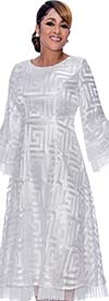 DCC - DCC2171-White-  Pleated Organza Trimmed Bell Sleeve Dress With Spiral Square Pattern