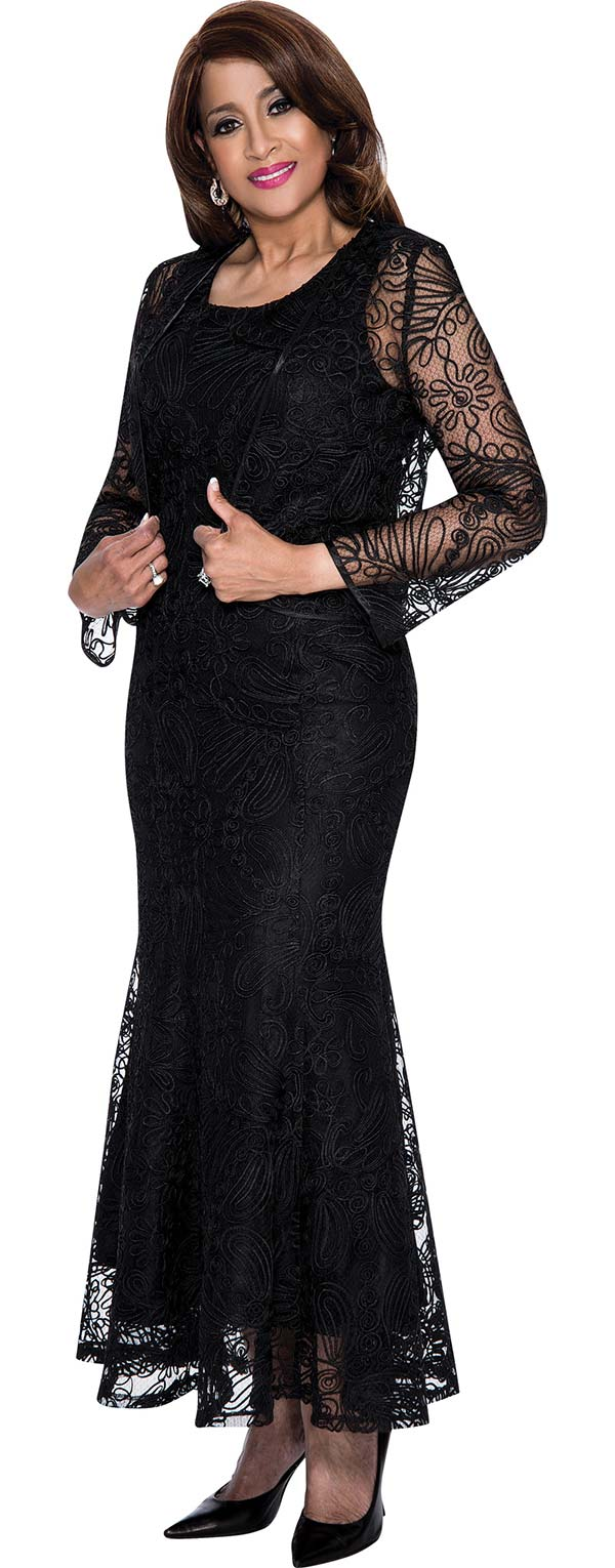 DCC - DCC142-Black - Mesh Layered Womens Dress With Soutache Detail