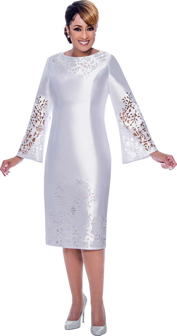 DCC - DCC2651-White - Cut-Out Detail Bell Sleeve Dress