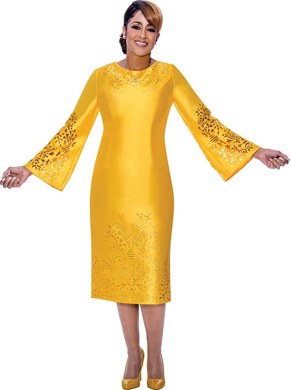 DCC - DCC2651-Yellow - Cut-Out Detail Bell Sleeve Dress