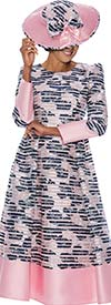 DCC - DCC3071 - Womens A-Line Church Dress With Puff Shoulder Sleeves In Striped Pattern Design