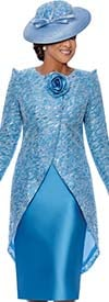 DCC - DCC3452 - Womens Church Dress With Pointed Shoulder Sleeve High-Low Style Jacket