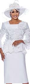 DCC - DCC3592 - Womens Church Suit With Flounce Sleeve Jacket Featuring Floral Applique Details