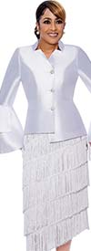 DCC-Suits - DCC9032-White - Tiered Fringe Detail Tilt Skirt Suit With Star Neckline Split Bell Cuff Jacket