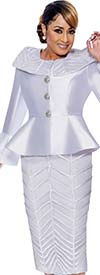 DCC-Suits - DCC9092 - Chuch Suit With Piping Textured Skirt And Portrait Collar Peplum Jacket