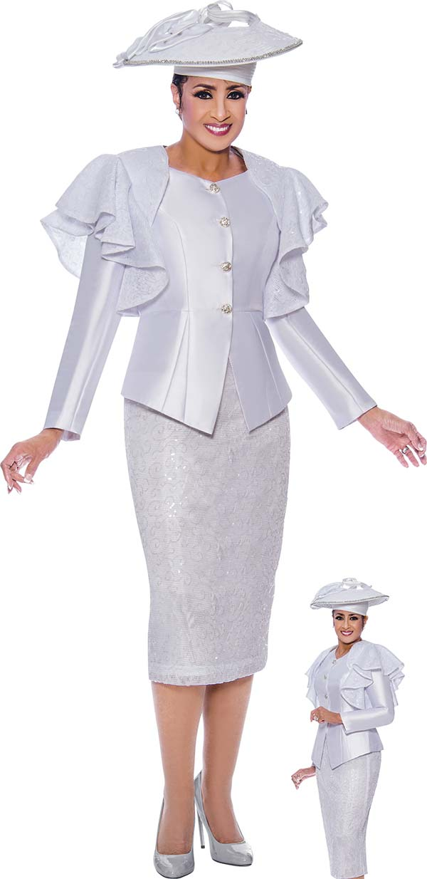 DCC-Suits - DCC9002 - Shoulder Ruffle Detailed Jacket And Skirt Suit