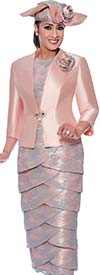 DCC-Suits - DCC9023 - Chuch Dress With Lace Detail Petal Skirt And Solid Single Clasp Jacket