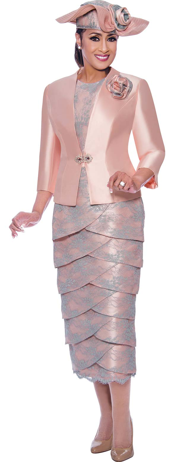 DCC-Suits - DCC9023 - Chuch Suit With Lace Detail Petal Skirt And Solid Single Clasp Jacket