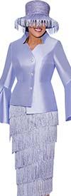 DCC-Suits - DCC9032-Lavender - Tiered Fringe Detail Tilt Skirt Suit With Star Neckline Split Bell Cuff Jacket