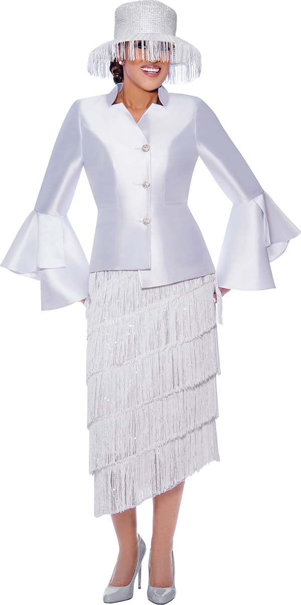 DCC-Suits - DCC9032-White - Tiered Fringe Detail Tilt Skirt Suit With Star Neckline Split Bell Cuff Jacket