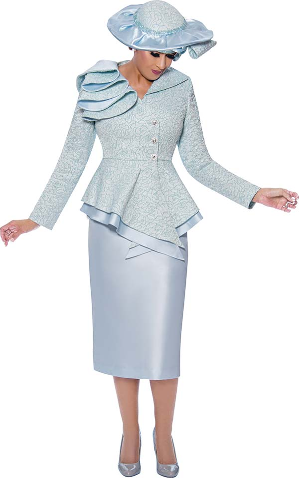 DCC-Suits - DCC9042-Blue - Pointed Wrap Peplum Jacket And Skirt Suit With Shoulder Detail