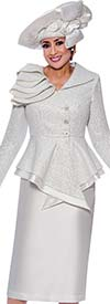 DCC-Suits - DCC9042-White - Pointed Wrap Peplum Jacket And Skirt Suit With Shoulder Detail