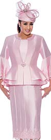DCC-Suits - DCC9053-Pink - Lace Trimmed Womens Church Suit With Flounce Sleeve Peplum Jacket