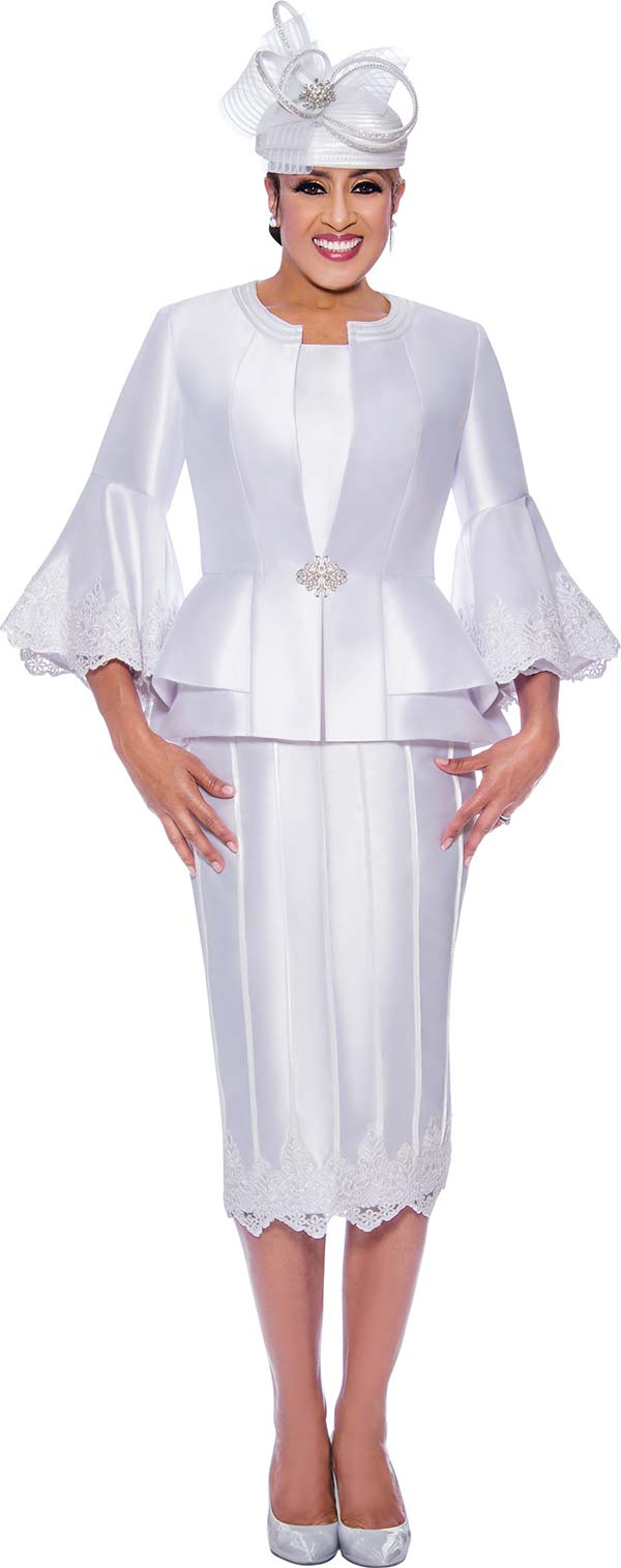 DCC-Suits - DCC9053-White - Lace Trimmed Womens Church Suit With Flounce Sleeve Peplum Jacket