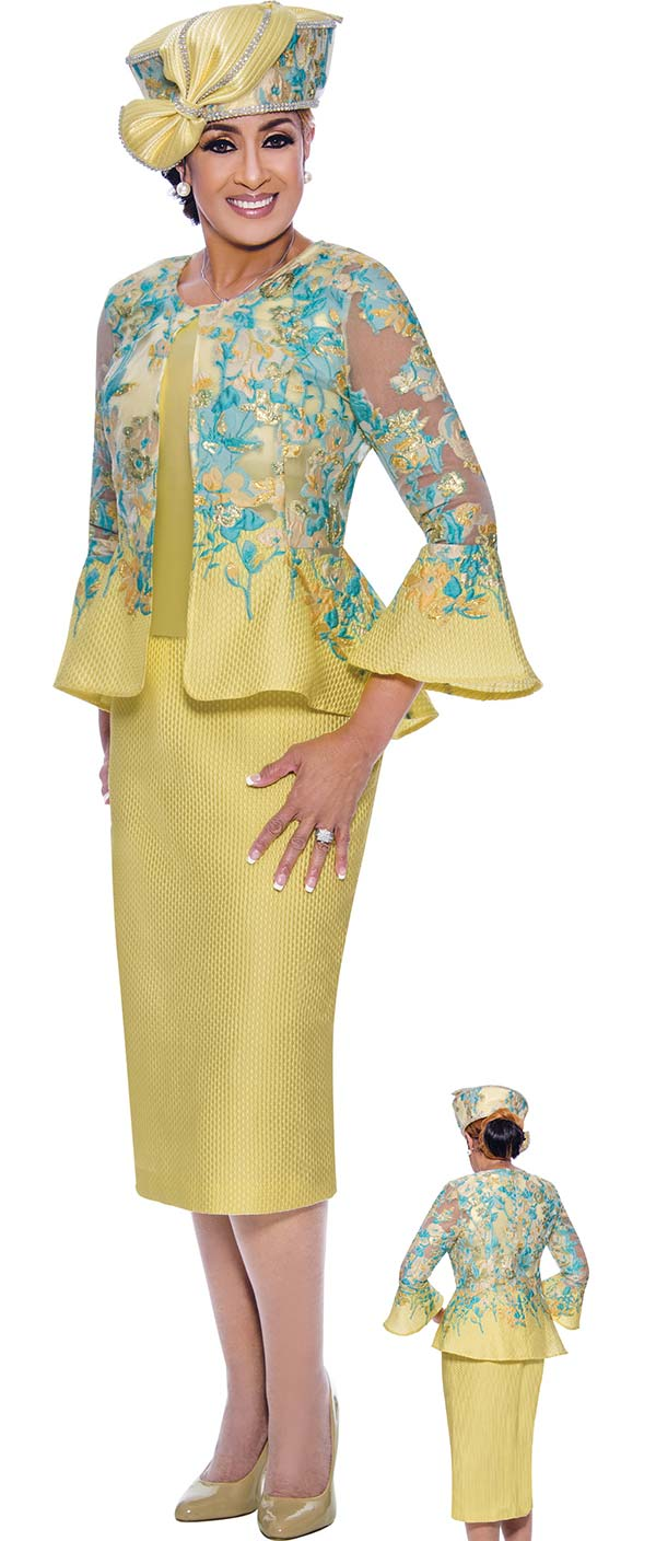 DCC-Suits - DCC9073 - Ladies Church Suit With Floral Printed Bell Cuff Sleeve Peplum Jacket