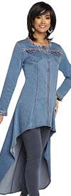 Donna Vinci DV Jeans 8426 Womens Stretch Denim High Low Tunic With Elaborate Rhinestone Trims