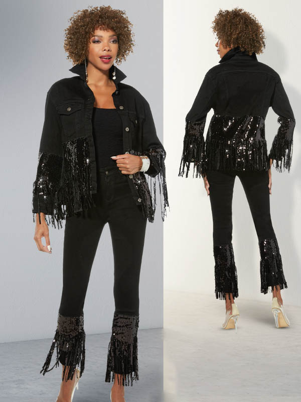 Donna Vinci DV Jeans 8444 Womens Stretch Denim Pants & Jacket Set In Fringe Trimmed Sequin Design