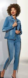 Donna Vinci DV Jeans 8445 Womens Stretch Denim Jacket & Pant Suit Trimmed With Metallic Fringes