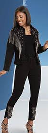 Donna Vinci DV Jeans 8446 Womens Embellished Stretch Denim Jacket & Pant Set With Metallic Fringe Trim