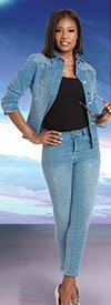 Donna Vinci DV Jeans 8447 Luxury Stretch Denim Womens Pants & Jacket Set Embellished With Grey Rhinestones