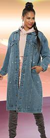 Donna Vinci DV Jeans 8448 Womens Long Denim Coat With Rhinestones In Oversized Look