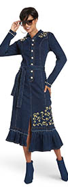 Donna Vinci DV Jeans 8449 Ladies Stretch Denim Dress With Embroidered Design And Pearl Trim