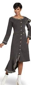 Donna Vinci DV Jeans 8450 Ladies Stretch Denim Dress In Embellished Asymmetric Design