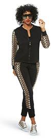 Donna Vinci Sport 21002 Womens Leopard Print Luxury Stretch Cotton Fabric Pants & Jacket Set