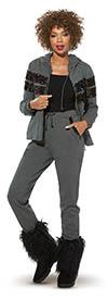 Donna Vinci Sport 21003 Womens Luxury Stretch Cotton Fabric Hoodie Jacket & Pants Set With Sequin Trim
