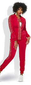 Donna Vinci Sport 21004 Womens High-Quality Stretch Cotton Fabric Jacket & Pants Set With Gold Studs
