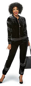 Donna Vinci Sport 21005 Womens Stretch Velour Fabric Jacket & Pants Set Embellished With Pearls