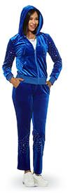Donna Vinci Sport 21007 Womens Stretch Velour Fabric Hoodie Jacket & Pants Set Embellished With Silver Studs