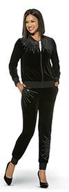 Donna Vinci Sport 21008 Womens Stretch Velour Fabric Jacket & Pants Set With Rhinestone Embellished Trim