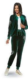 Donna Vinci Sport 21009 Ladies Stretch Velour Fabric Rhinestone Heart Embellished Jacket & Pants Set