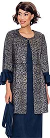 Devine Sport DS62013 - Denim Skirt Suit With Long Ruffle Cuff Jacket & Sash