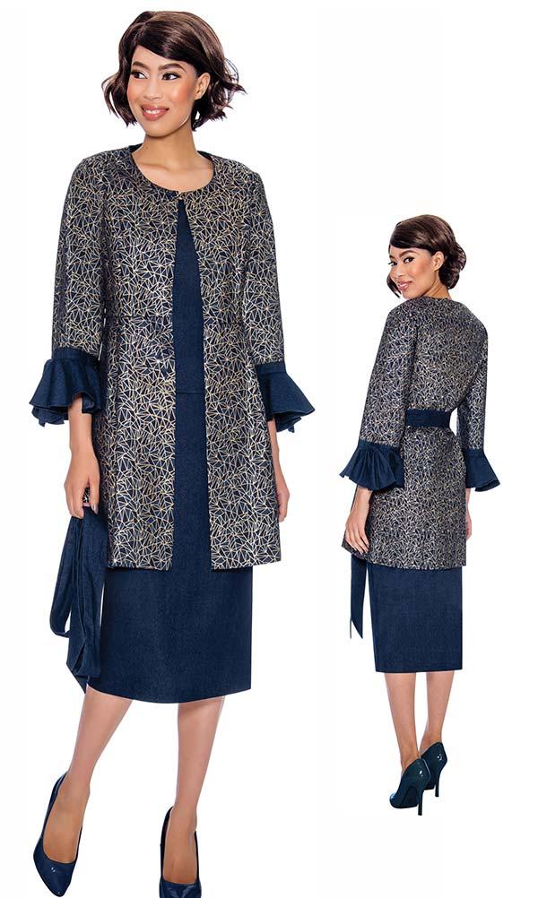 Devine Sport DS62013 - Denim Skirt Suit With Long Ruffle Cuff Jacket & Sash