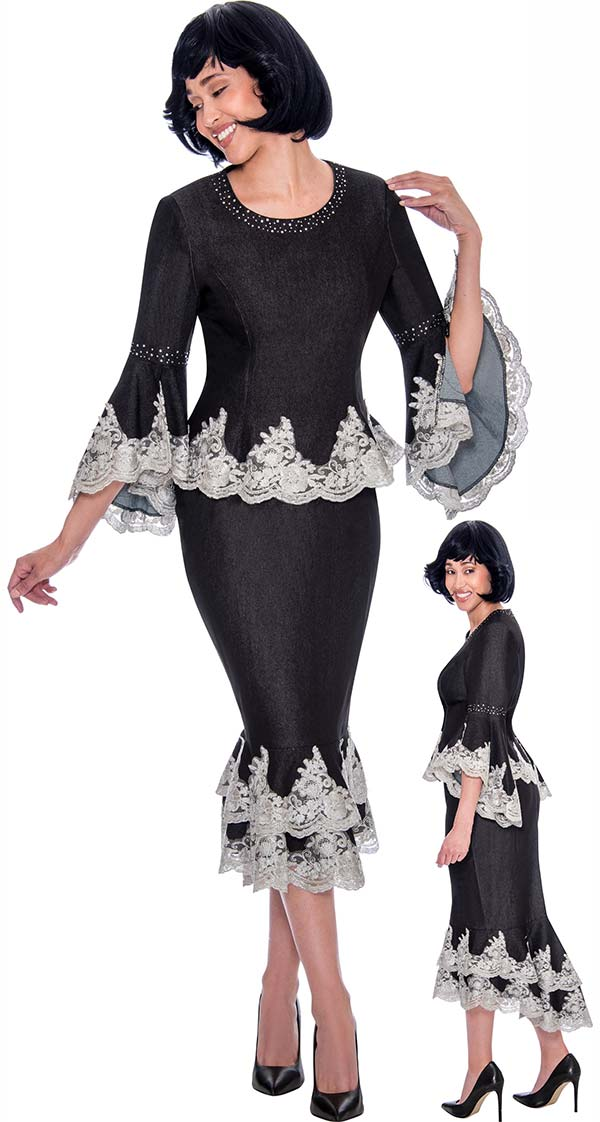 Devine Sport DS62032-Black - Lace Trim Design Layered Flounce Denim Skirt Suit